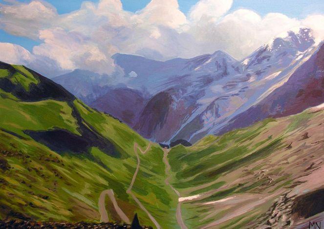 Alpen, Berge, Urlaub, Panorama, Malerei