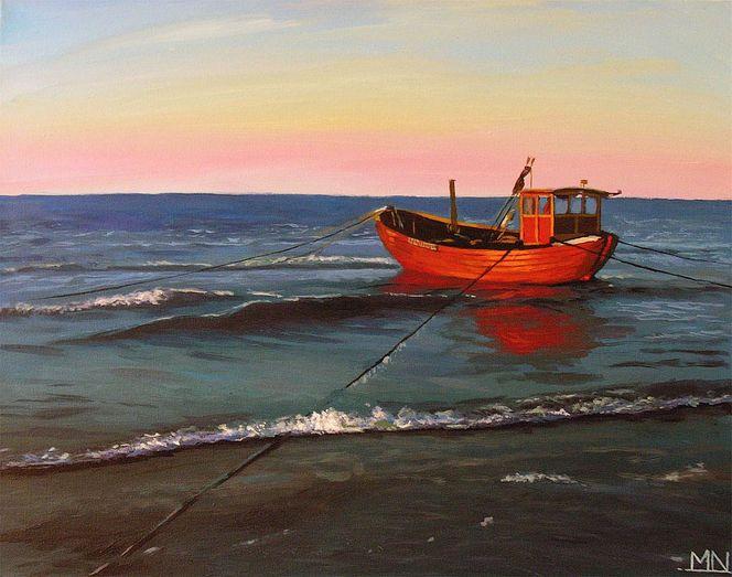 Norddeutschland, Fischerboot, Sonnenuntergang, Strand, Ostsee, Küste
