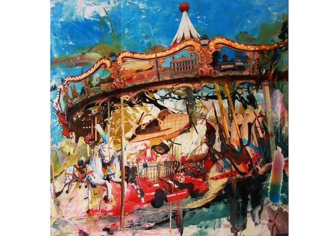 Karussell, Collage on panel, Rein, Zechen, The film, Pop art