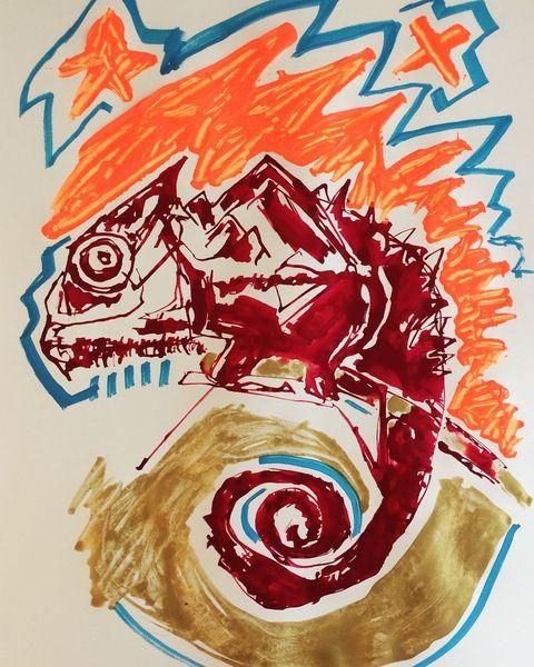 Tiere, Feuer, Chamäleon, Malerei