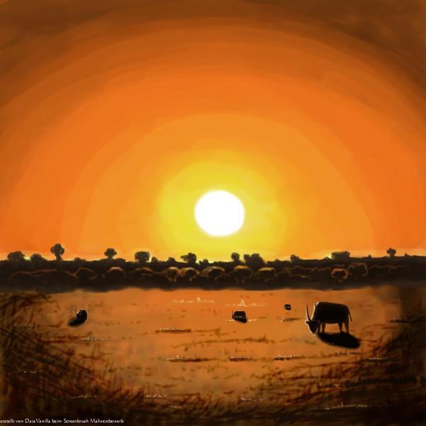 Malerei, Digital, Südafrika, Pinnwand, Sonnenuntergang, Wildnis