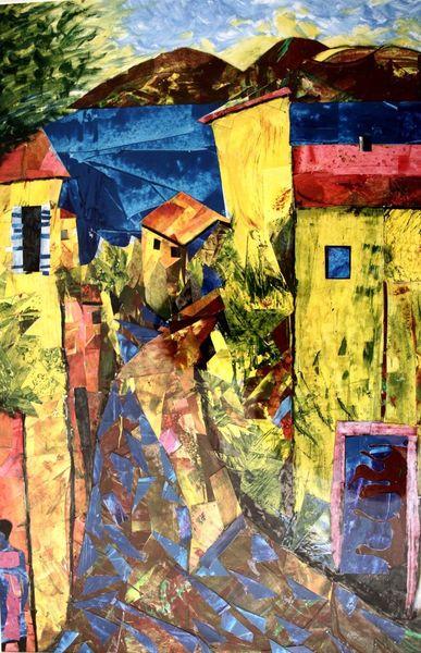 Grün, Intensiv, Acrylmalerei, Gelb, Collage, Süden