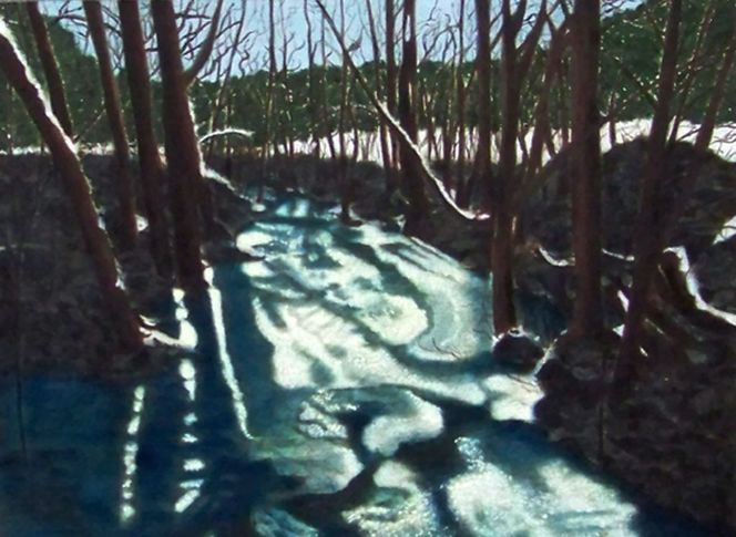 Landschaftsmalerei, Schnee, Harzölmalerei, Bach, Winter, Spiegelung