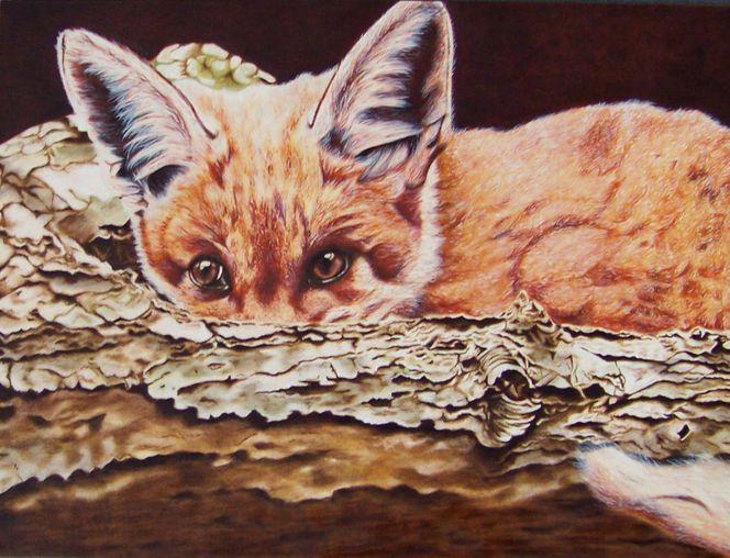 Fuchs, Angst, Baumstamm, Tiermalerei, Harzölmalerei, Tierportrait
