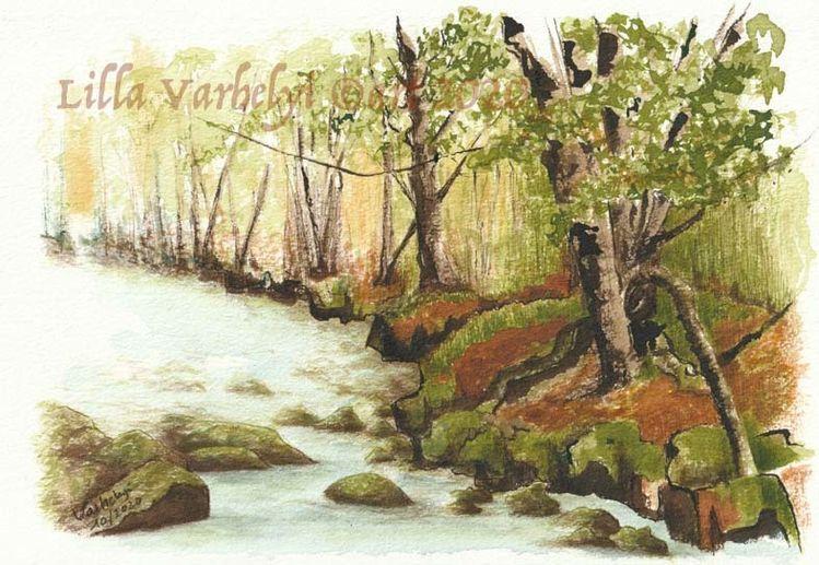 Tuschmalerei, Stein, Moos, Landschaft, Ufer, Natur