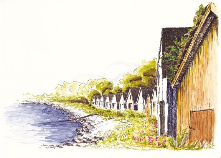 Bootshaus, Norwegen, Berge, Wasser, Tuschezeichnung, Landschaft