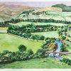 Fluss, Aquarellmalerei, Hügel, Landschaft