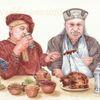 Essen, Mittelalter, Illustration, Tuschmalerei