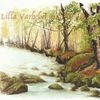 Wald, Bach, Stein, Tuschmalerei