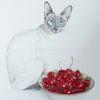 Stillleben, Katze, Tuschmalerei, Siamkatze