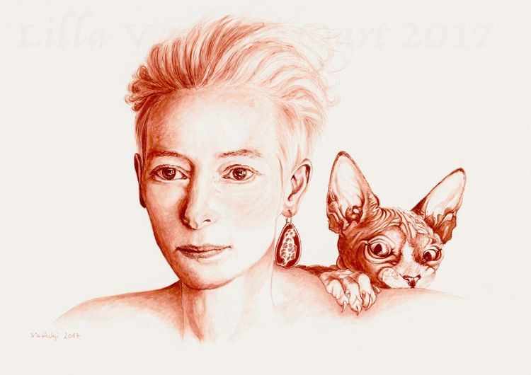 Katze, Tuschezeichnung, Frau, Figurativ, Zeichnung, Kopf