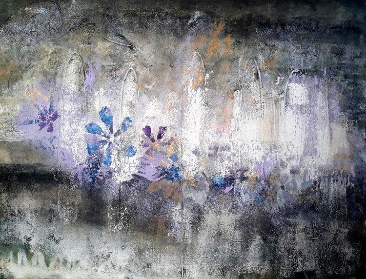 Abstrakt, Struktur, Blumen, Natur, Mischtechnik, Malerei
