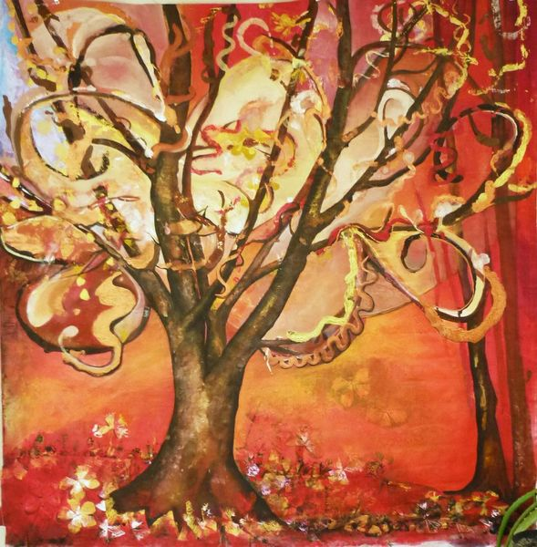Baum, Groß, Struktur, Rot, Naturgewalten, Malerei