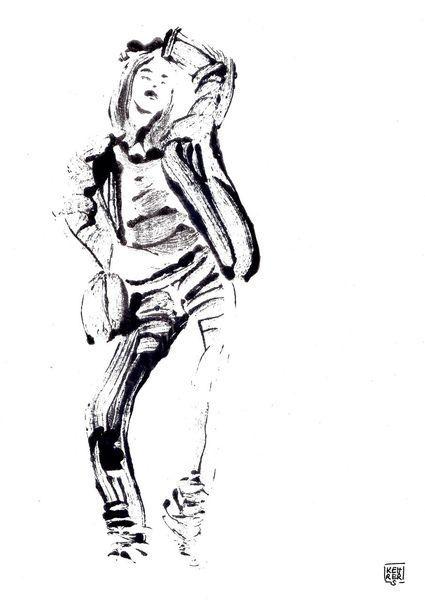 Portrait, Schwarz weiß, Frau, Malerei