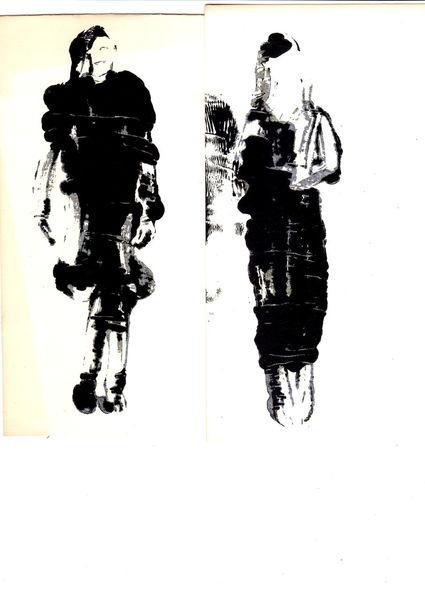 Bewegung, Reduktion, Klecksen, Schwarzweiß, Malerei
