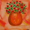 Vase, Blumen, Mohn, Malerei