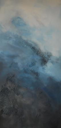 Audacia, Hellblau, Weiß, Abstrakt, Braun, Acrylmalerei