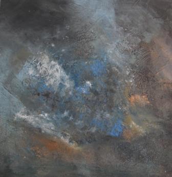 Pigmente, Mischtechnik, Braun, Türkis, Bronze, Abstrakt