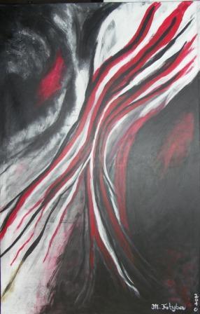 Bild schwarz wei grau rot von marion kotyba bei kunstnet - Wandbilder grau weiss ...