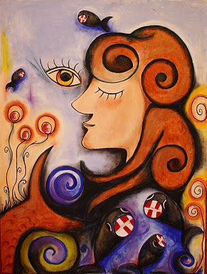Malerei, Abstrakt, Meerjungfrau