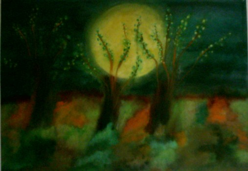 Baum, Nacht, Vollmond, Malerei, Surreal,
