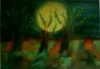 Vollmond, Baum, Nacht, Malerei
