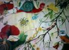 Raupe, Schnecke, Schmetterling, Mohnblumen