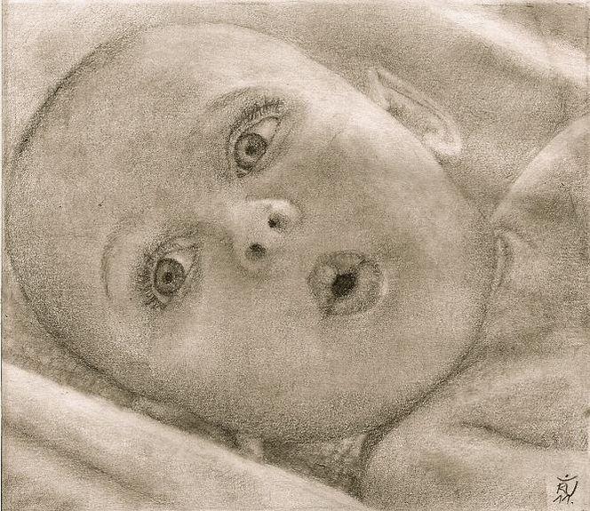 Übungsarbeit, Zeichnung, Baby, Studie, Portrait, Zeichnungen