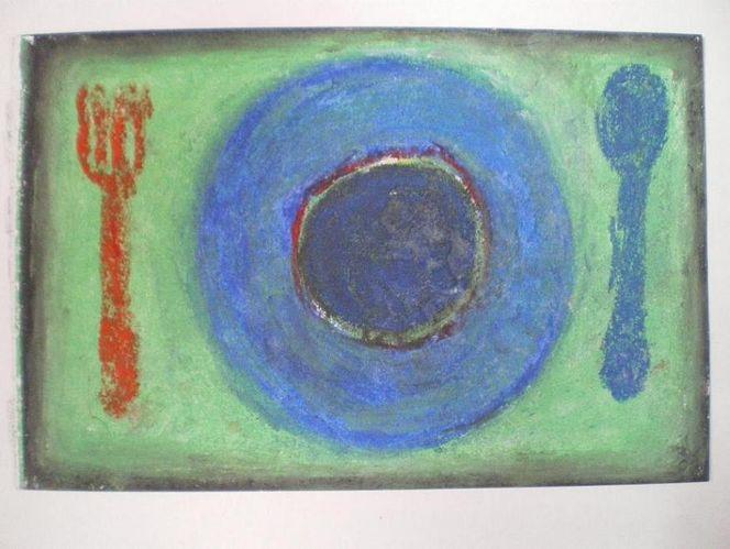 Pastellmalerei, Suppe, Stillleben, Mahlzeit, Malerei,