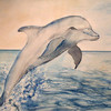 Aquarellmalerei, Delfin, Landschaft, Abstrakt