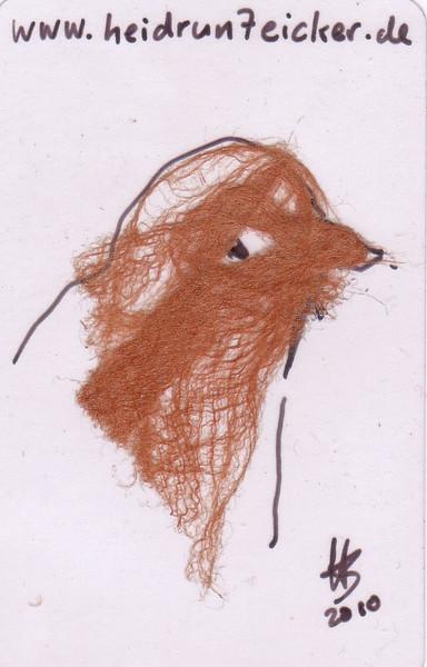 Taschenkunst, Rindenstoff, Zeichnungen, Vogel