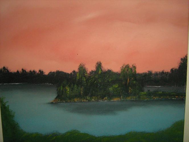 Landschaft, Insel, See, Malerei, Wald, Wasser