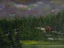 Ölmalerei, Landschaft, Hütte, Malerei