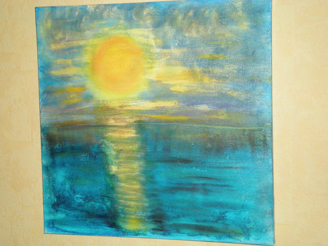 Sand, Acrylmalerei, Wasser, Mischtechnik, Sonne, Struktur
