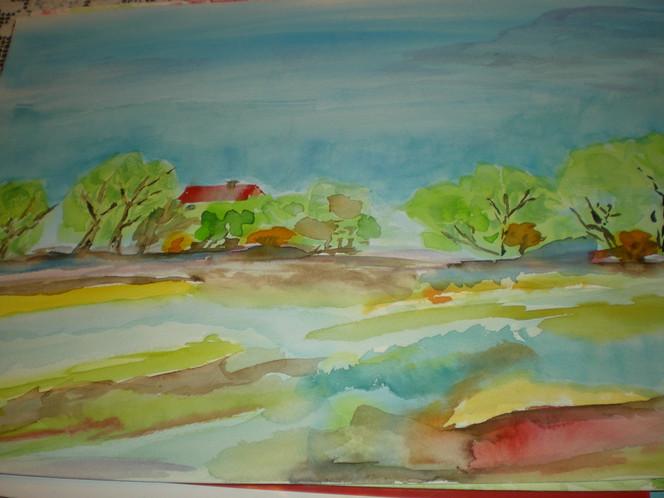 Aquarellmalerei, Haus, Landschaft, Wasser, Baum, Wolken