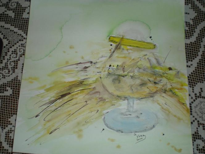 Tuschmalerei, Glas, Zitrone, Verschütten, Aquarellmalerei, Zerbrochenes glas