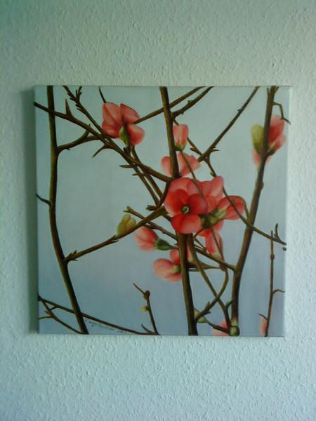 Malerei, Stillleben, Blätter, Frühling