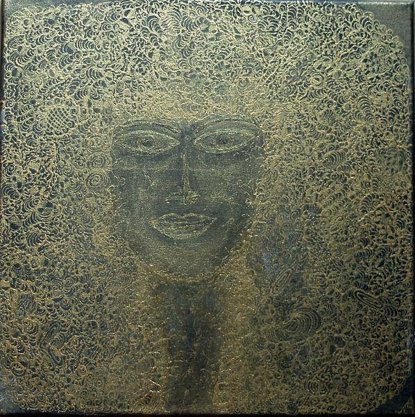 Schwarz, Kopf, Gold, Portrait, Frauenportrait, Frau