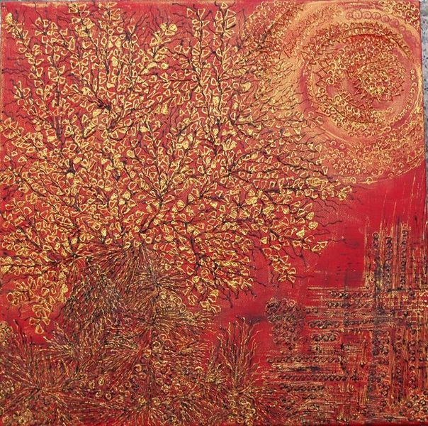 Sonne, Rot, Struktur, Baum, Abstrakt, Paradies
