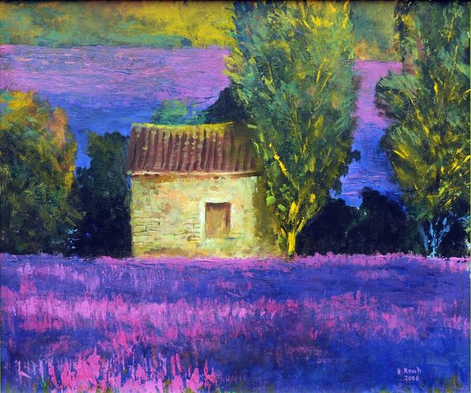 Feld, Haus, Baum, Provence, Lavendel, Malerei