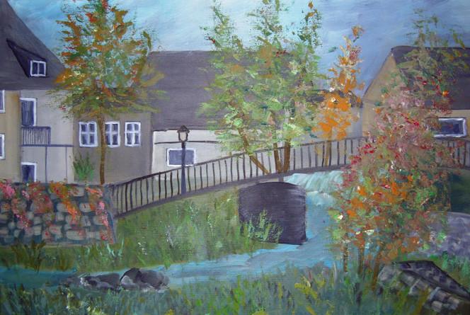 Mauer herbst, Schwarzenbach, Saale, Brücke, Haus, Malerei