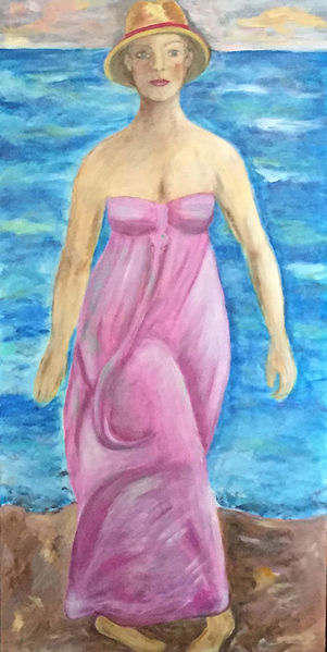 Junge frau, Wasser, Strand, Meer, Malerei, Mädchen