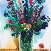 Sommer, Sommerstrauß, Rittersporn, Vase