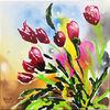 Rot, Farben, Tulpen, Malerei