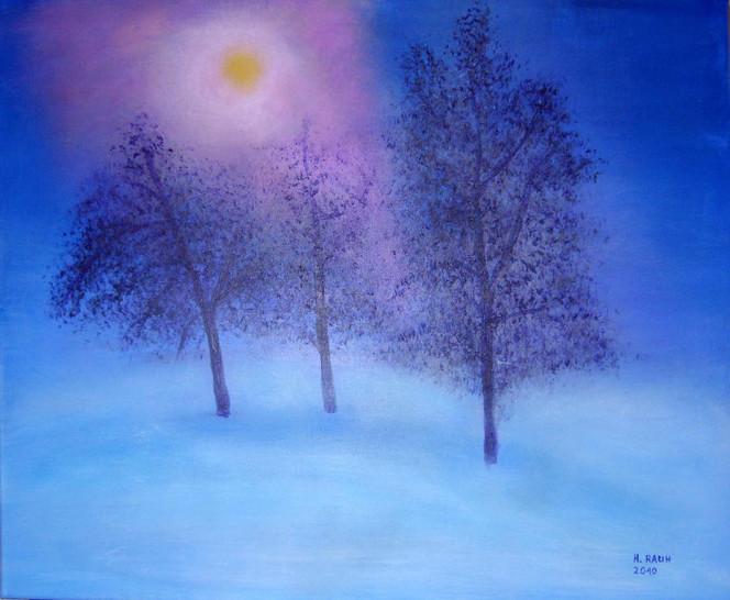 Nebel, Winter, Baum, Schnee, Blau, Gelb