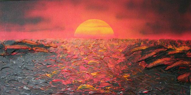 Meer, Acrylmalerei, Spachtel, Sonnenuntergang, Mischtechnik, Malerei