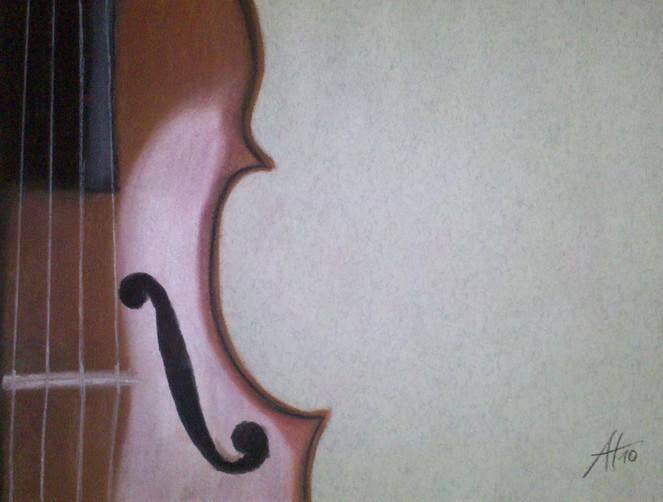 Geige, Pastellmalerei, Zeichnungen