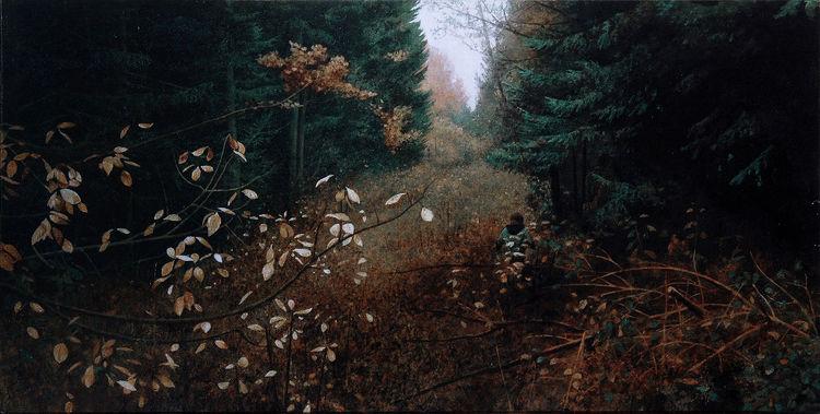 Wald, Figur, Landschaft, Menschen, Malerei, Realismus