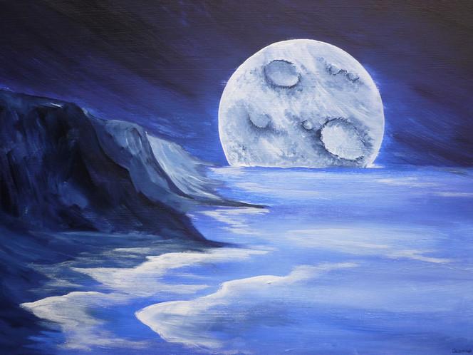 Mond, Kitsch, Blau, Meer, Malerei