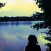 Menschen, See, Abend, Zwielicht